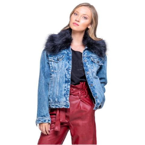 Staff Tamara Women's Jean-Jacket With Fur