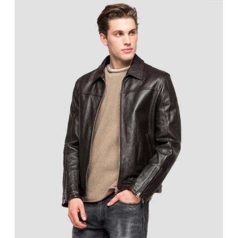 Replay Men's Biker Leather Jacket Black