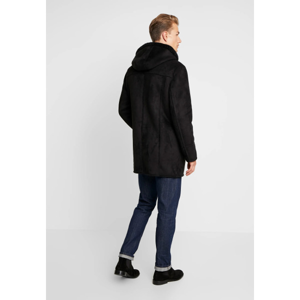 Oakwood Dylan Hooded Fake-Shearling Coat Black