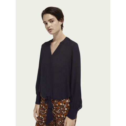 Scotch & Soda V-Neck Top With Tie Detail