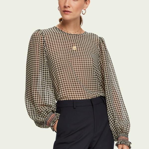 Scotch & Soda Women's Sheer Long Sleeve-Top