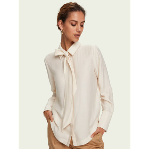 Scotch & Soda Women's Bow-Neck Long-Sleeve Shirt
