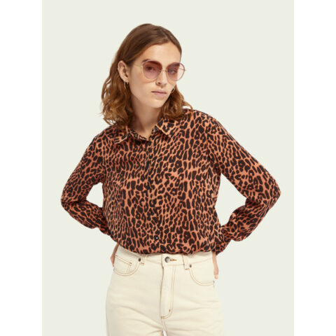 Scotch & Soda Women's Regular-Fit Animal-Print Shirt