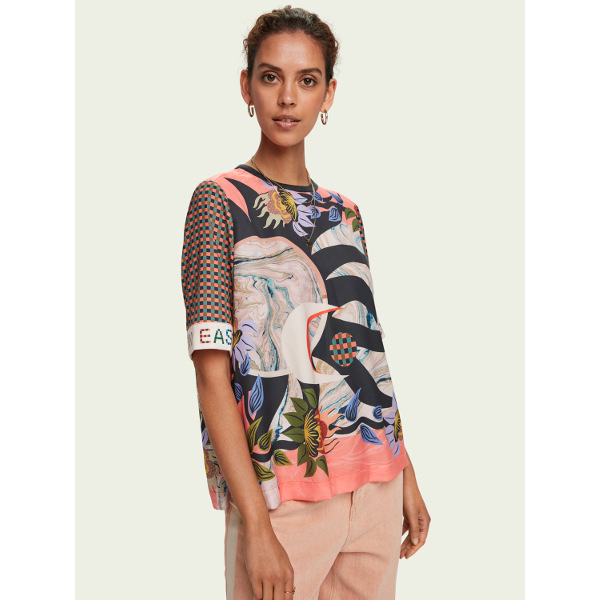 Scotch & Soda Silky Printed Short-Sleeve Top