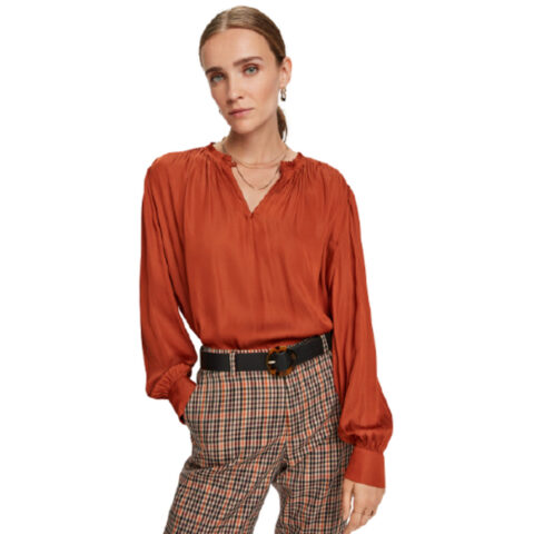 Scotch and soda Smocked-Shoulder Long-Sleeve Top
