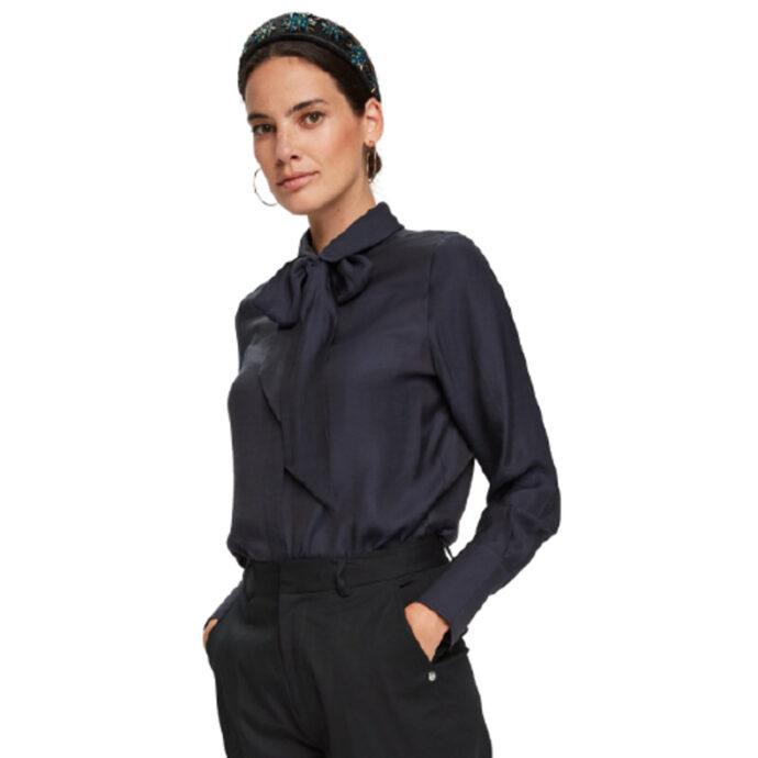 Scotch & Soda Women's Bow-Neck Long-Sleeve Shirt