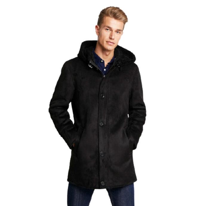 Oakwood Dylan Hooded Fake-Shearling Coat Black