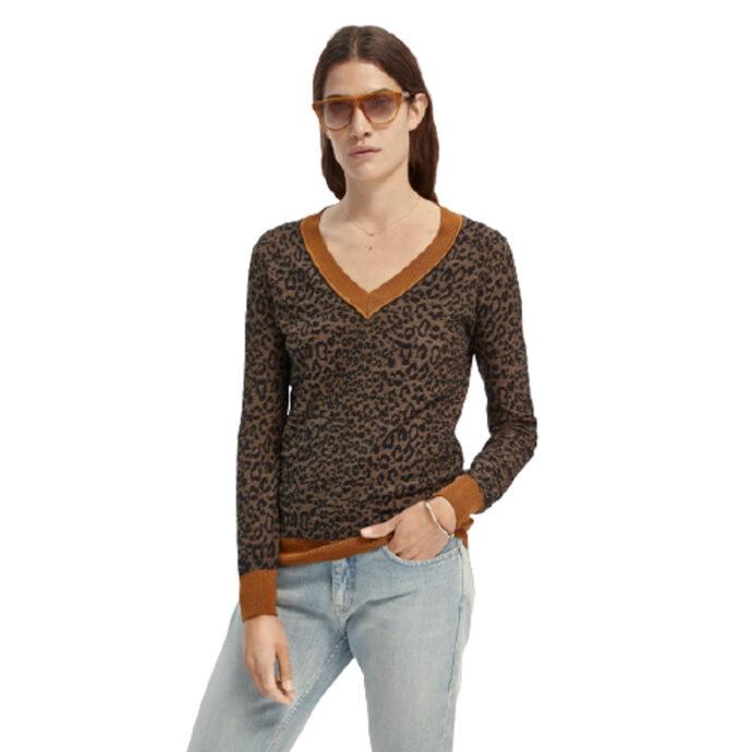 Scotch & Soda Long Sleeve Animal-Print V-Neck Knit
