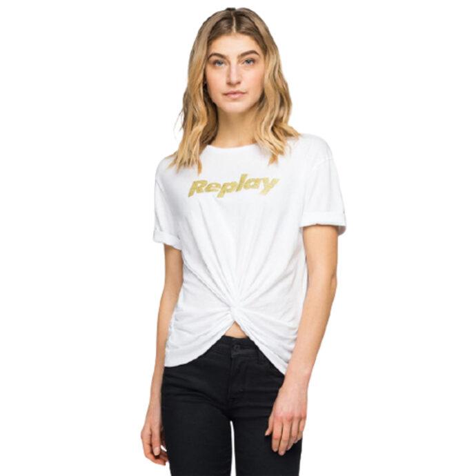 Replay Women's T-Shirt Bow-Glitter Print