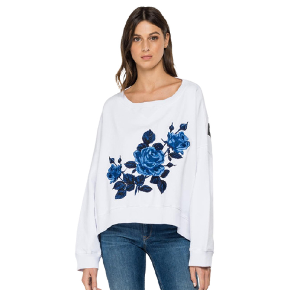 Replay Oversized Sweatshirt Rose Label Embroidery