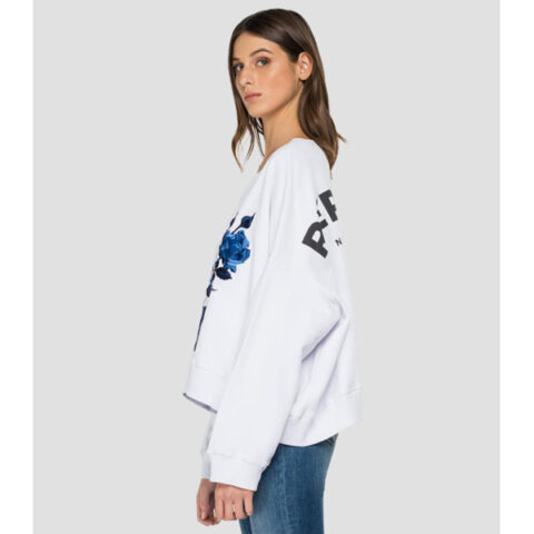 Replay Oversized Sweatshirt Rose Label Embroidery