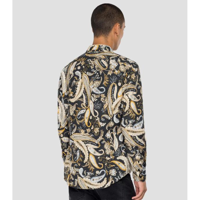 Replay Men's Jacquard Shirt Paisley Print