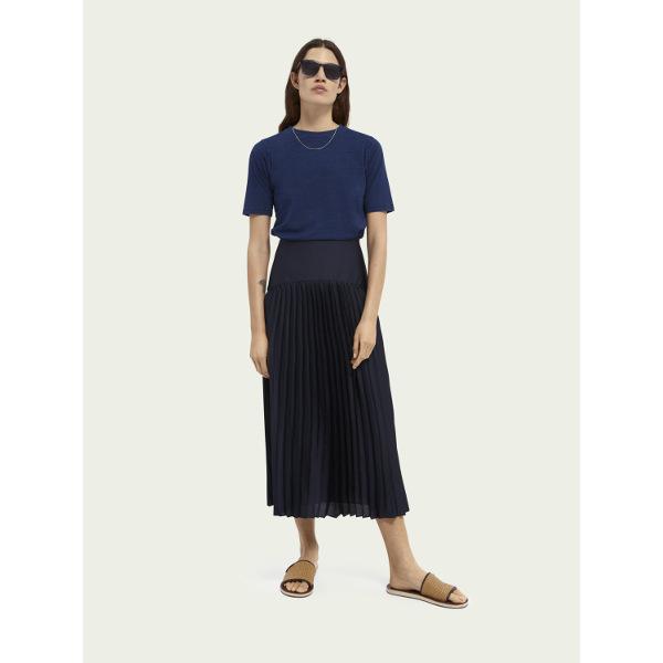 Scotch & Soda Women's Blue Pleated maxi skirt