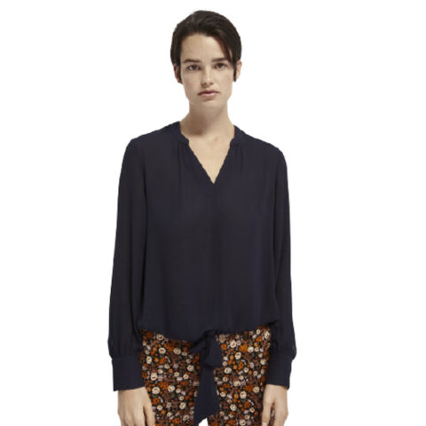 Scotch & Soda V-Neck Top With Tie Blue