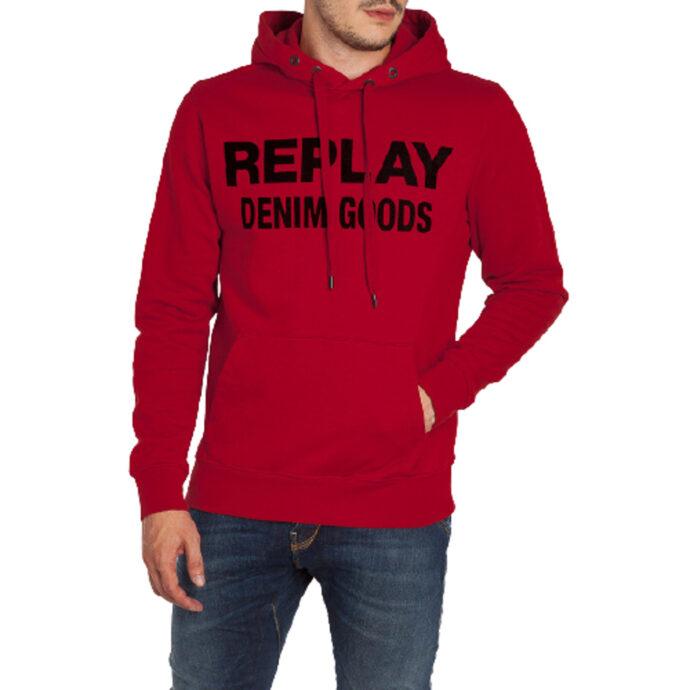 Replay Men's Hoodie Denim Goods Red