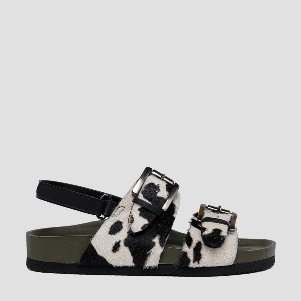 Replay Women's Wildrose Leather Sandals Blck/Wht