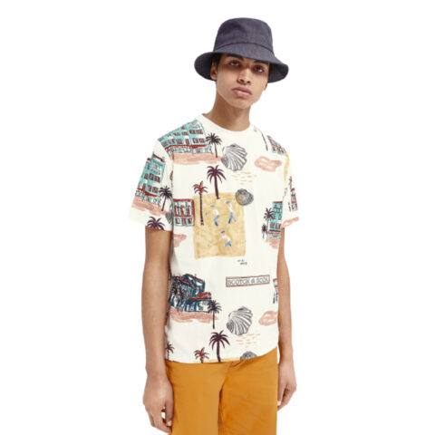 Scotch & Soda Men's Printed Cotton T-Shirt