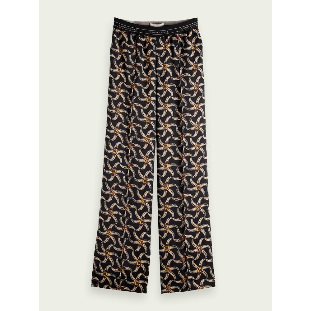 Scotch & Soda Printed Elastic Waist Wide-Leg Trousers