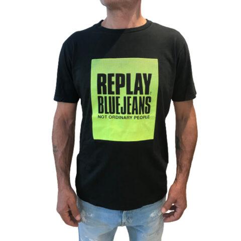 Replay CREWNECK Men's T-Shirt Black
