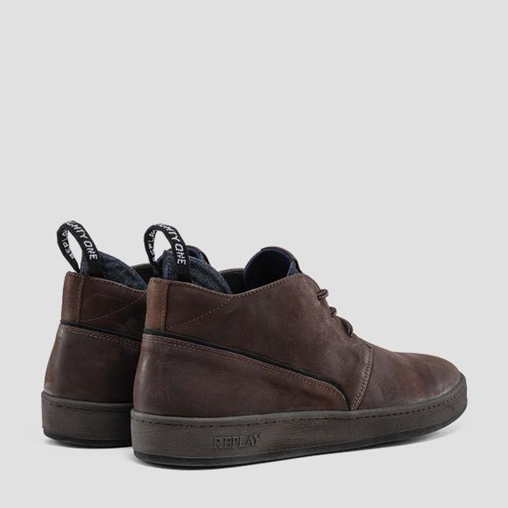 Replay Men's FIVEHEAD Lace-Up Mid-Cut Leather Shoes