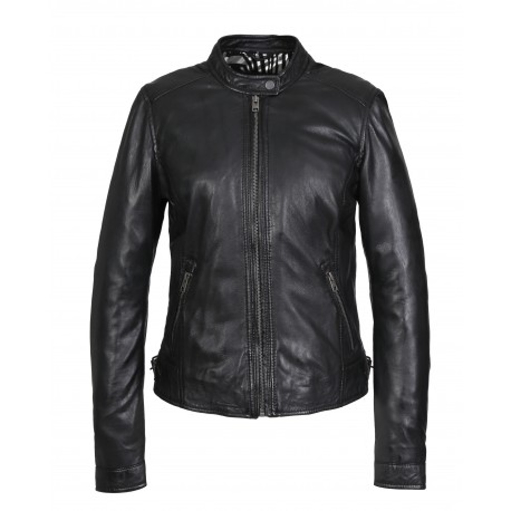Oakwood KARINE Black Mandarin Collar Genuine Leather