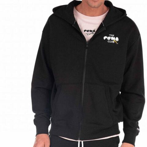 Puma Men's CLUB Graphic FZ Hoodie Black