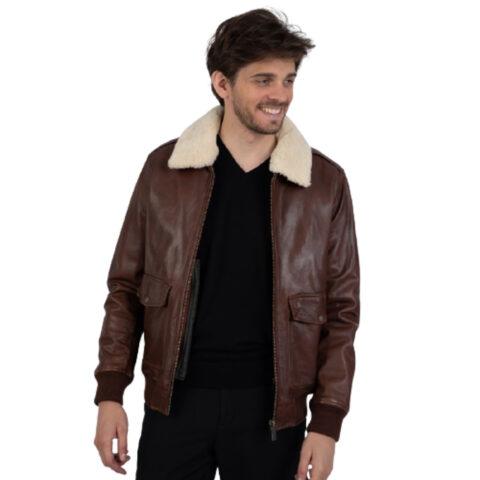 Oakwood Men's Andersen Cognac Aviator Leather-Jacket