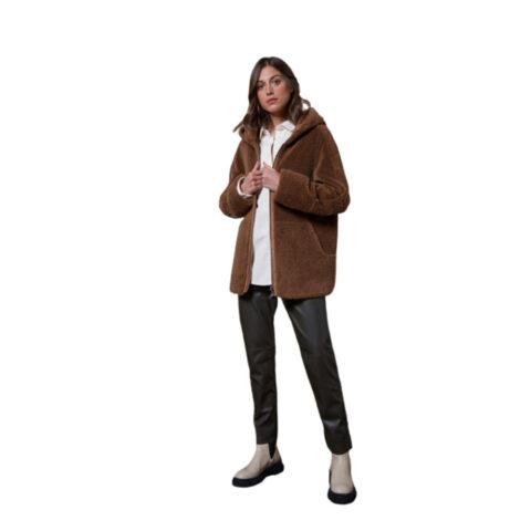 Oakwood Iris Brown-Faux Shearling Reversible Short Hooded-Coat