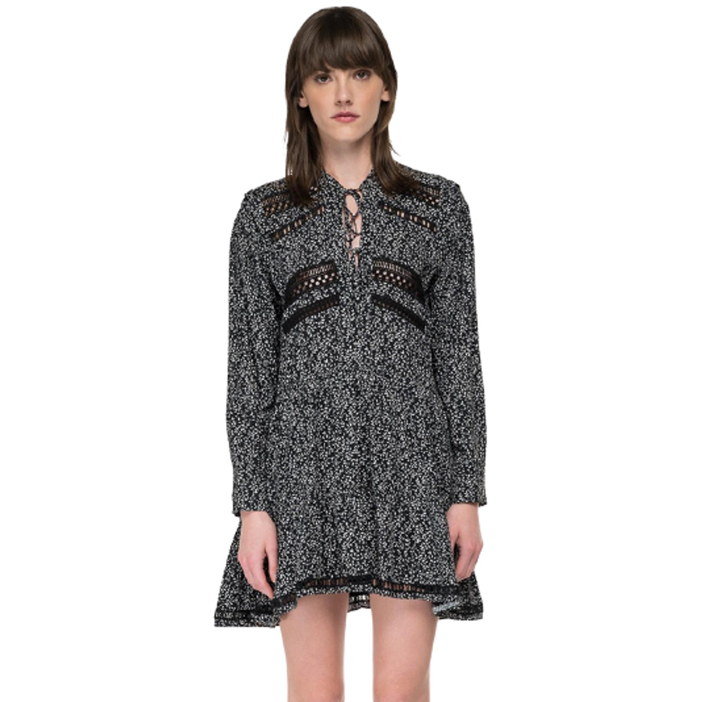 Replay Frilled Dress In Floral Viscose